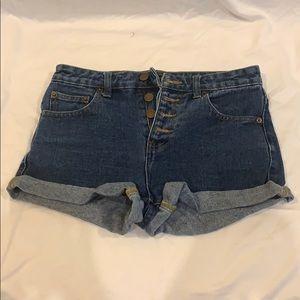 Medium wash high-waisted jean short
